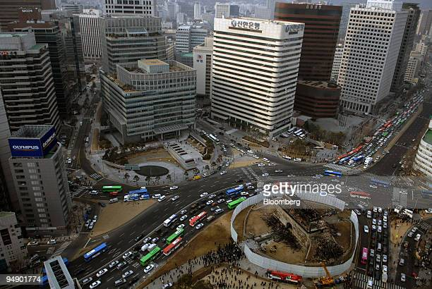 The Sungnyemun Gate also called Namdaemun or South Gate is destroyed by fire in Seoul South Korea on Monday Feb 11 2008 Fire destroyed the 600yearold...