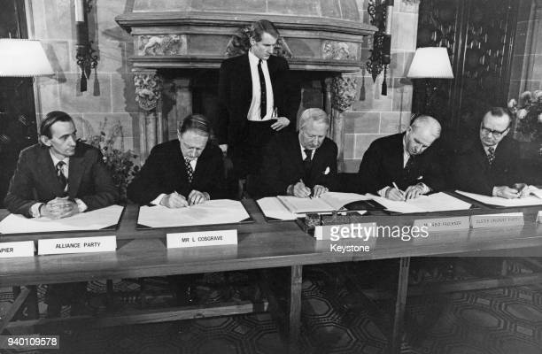 The Sunningdale Agreement for the Council of Ireland is signed at Sunningdale Park, Berkshire, 9th December 1973. From left to right, Oliver Napier...