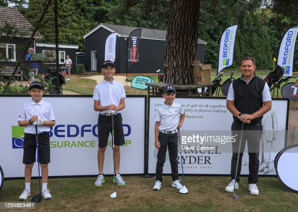 The Sunningdale Hearth Junior Members Team Logan Hodgson of England, William Mannering of England, Sully Donald pose for a team picture on the first...