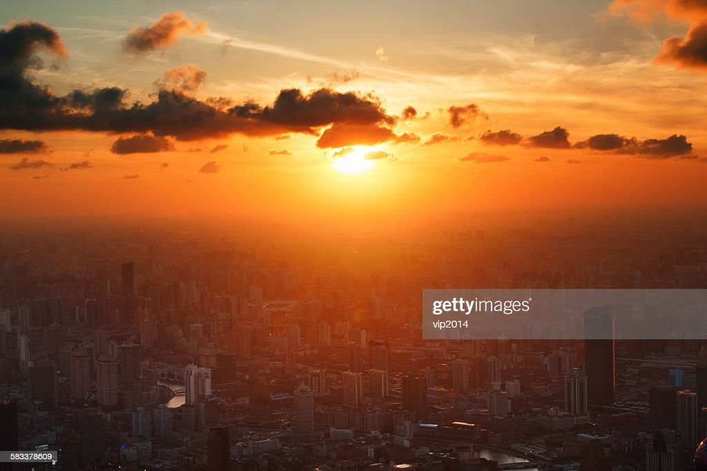 The sunrise in the city : Stock Photo