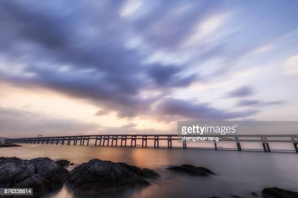 The sunrise  of Dalian Xinghai Bay Bridge.