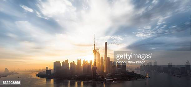 The sunrise of the big cities in Shanghai