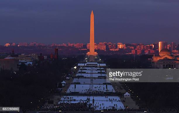 The sunrise shines on the Washington Monument hours before Presidentelect Donald Trump is sworn in as the 45th President of the United States on...