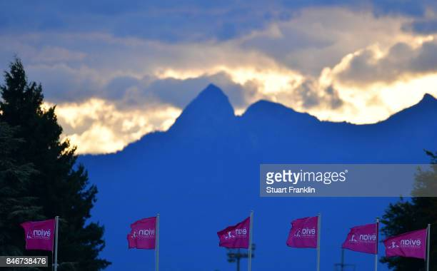 The sunrises above the Alps before the first round of The Evian Championship at Evian Resort Golf Club on September 14 2017 in EvianlesBains France