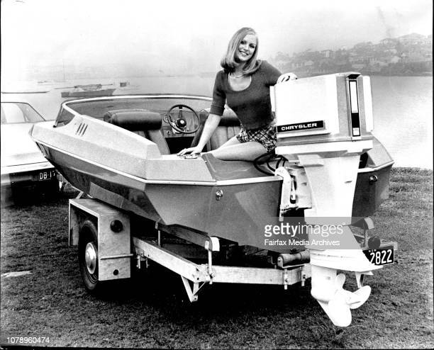 The Sun's 16 ft sidewinder with chrysler 70 mph motor Yasmin Nagy with the boat and motor July 11 1973 Photo by Bob Rice/Fairfax Media via Getty...