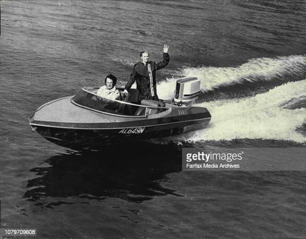 The Sun's 2 16ft ft sidewinder boat speed boat and 70 HP Chrysler motorYasmin Nagy and Mr Les Brown take a cruise in the boat July 12 1973