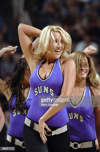 The Suns dancers perform during a game between the New Jersey Nets and the Phoenix Suns at America West Arena on November 25, 2005 in Phoenix,...