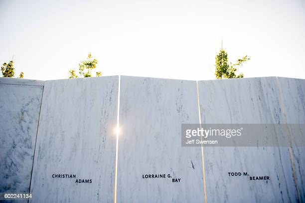 The suns goes down between the marble plates commemorating the victims before a luminaria service at the Flight 93 National Memorial on September 10...