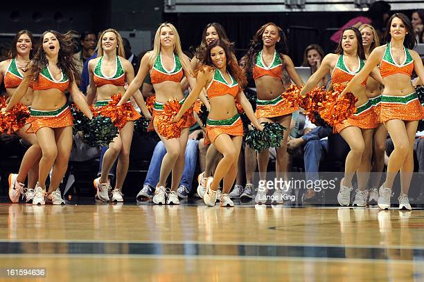 The Sunsations dance team of Miami Hurricanes perform during a game against the North Carolina Tar Heels at the BankUnited Center on February 9 2013...