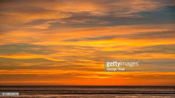The sunset along the coastline is viewed on February 4 in Shell Beach California Because of its close proximity to Southern California and Los...