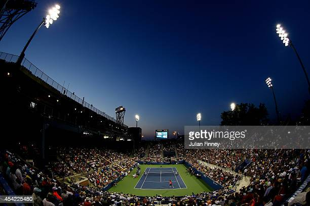 The sunset as Gael Monfils of France plays against Jared Donaldson of the United States during theirs men's singles first round match on Day Two of...