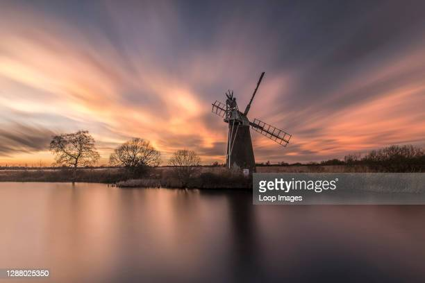 The sunset at Howhill which is a residential home with public footpaths that let you explore the Norfolk Broads and River Ant.