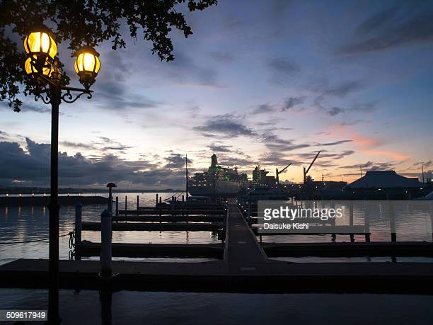 the sunset at port of apia, samoa - apia stock photos and pictures