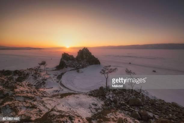 The Sunset at the Shamanka Rock of Burkhan Cape, Lake Baikal, Siberia, Russia