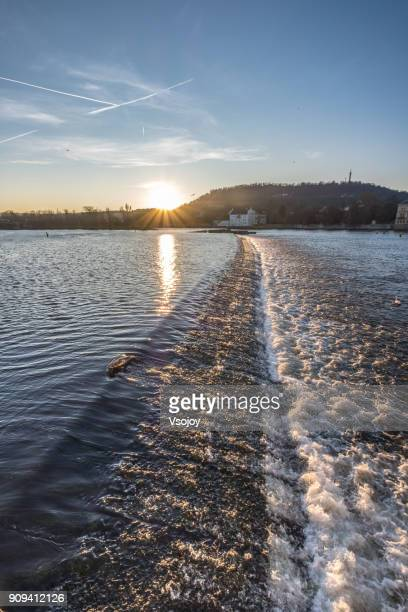 the sunset at the vltava river, prague, czech republic - vsojoy stock pictures, royalty-free photos & images