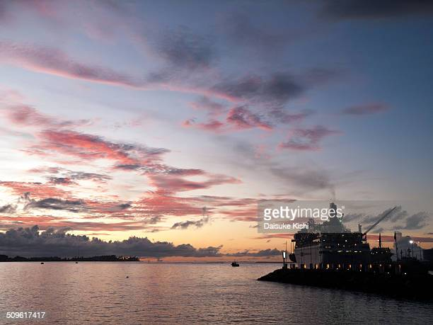 the sunset in apia, samoa - apia stock photos and pictures