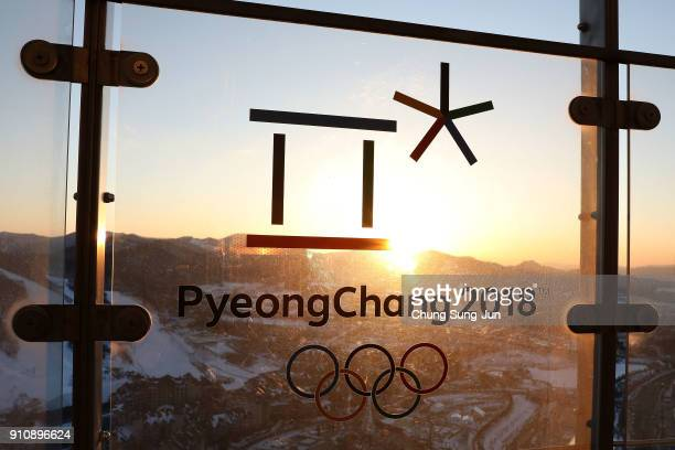 The sunset is seen at the Alpensia Resort venue for the MPC ahead of PyeongChang 2018 Winter Olympic Games on January 27 2018 in Pyeongchanggun South...