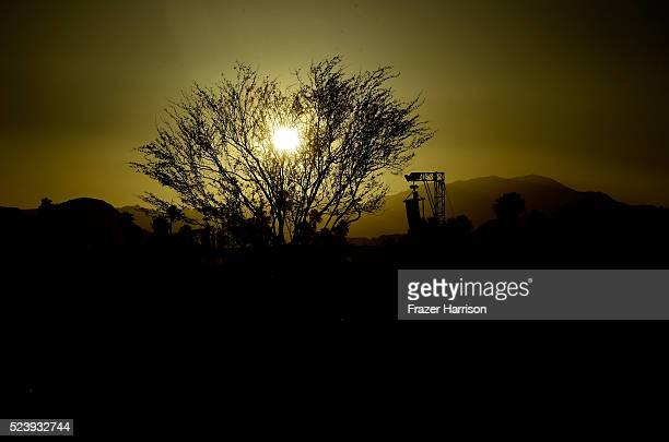 The sunset is seen during day 3 of the 2016 Coachella Valley Music Arts Festival Weekend 2 at the Empire Polo Club on April 24 2016 in Indio...