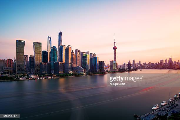 the sunset of lujiazui - human artery stock photos and pictures
