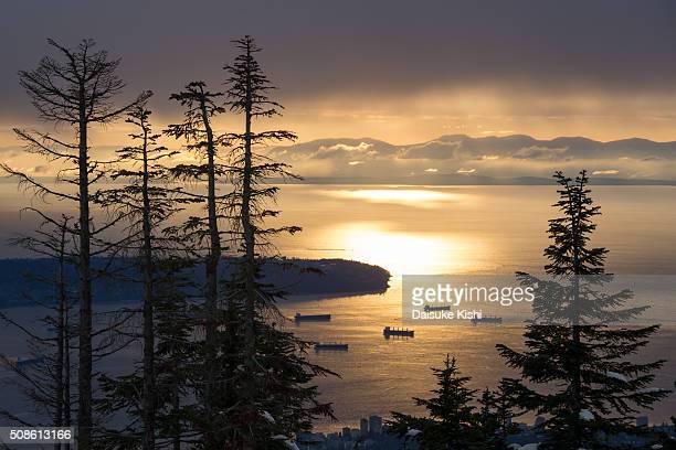 the sunset view from grouse mountain, vancouver, canada - montanhas north shore imagens e fotografias de stock