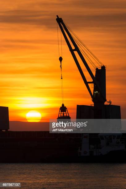 The sunsets behind a cargo vessel off the coast of Western Australia.