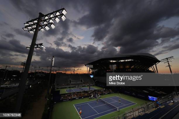 The sunsets behind Arthur Ashe Stadium on Day Nine of the 2018 US Open at the USTA Billie Jean King National Tennis Center on September 4 2018 in the...