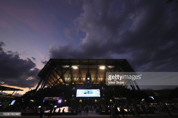 The sunsets behind Arthur Ashe Stadium on Day Nine of the 2018 US Open at the USTA Billie Jean King National Tennis Center on September 4, 2018 in...