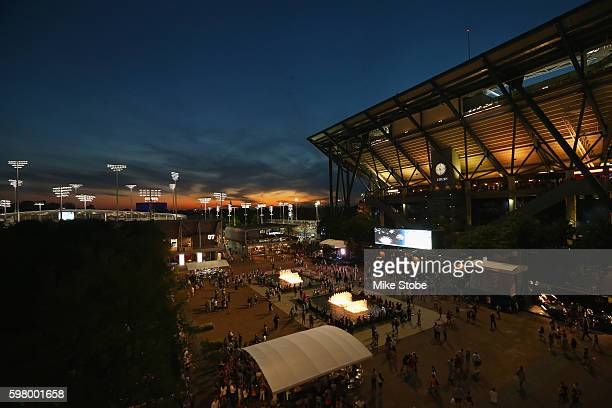 The Sunsets behind Arthur Ashe Stadium on Day Two of the 2016 US Open at the USTA Billie Jean King National Tennis Center on August 30 2016 in the...