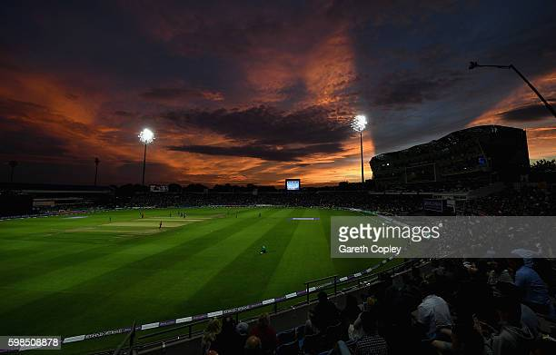 The sunsets during the 4th One Day International match between England and Pakistan at Headingley on September 1 2016 in Leeds England