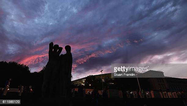 The sunsets near the stadium prior to the Bundesliga match between RB Leipzig and FC Augsburg at Red Bull Arena on September 30 2016 in Leipzig...