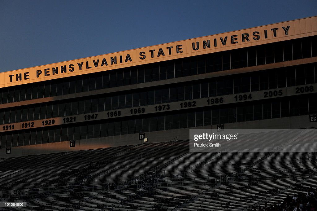 The sunsets on Beaver Stadium during a football pep rally on August 31, 2012 in State College, Pennsylvania. The Penn State football team will play it's first game against Ohio University on September 1, 2012, under new head coach Bill O'Brien following the death of former coach, Joe Paterno.