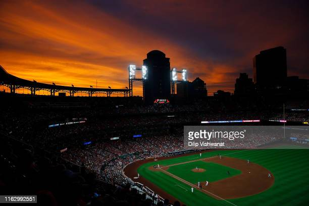 The sunsets over Busch Stadium in the fourth inning of a game between the St. Louis Cardinals and the Milwaukee Brewers on August 20, 2019 in St...