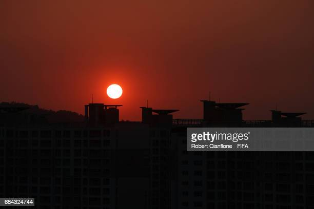 The sunsets over Jeonju ahead of the FIFA U20 World Cup on May 17 2017 in Jeonju South Korea