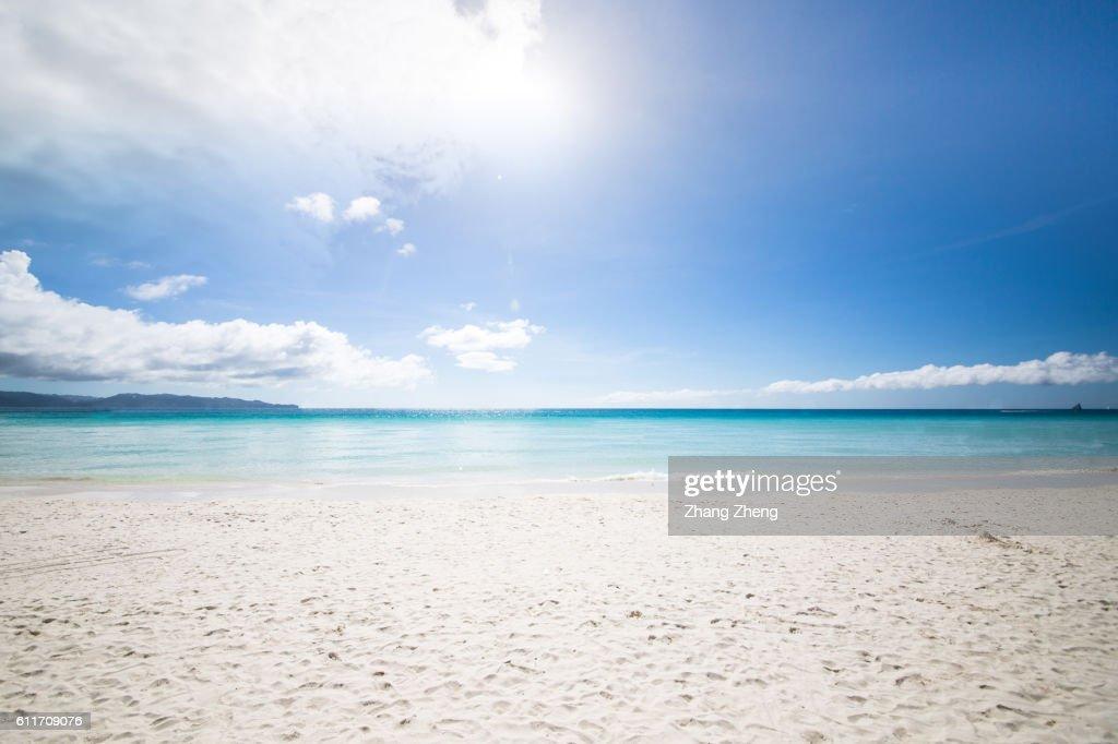 the sunshine beach in Boracay : Stock Photo