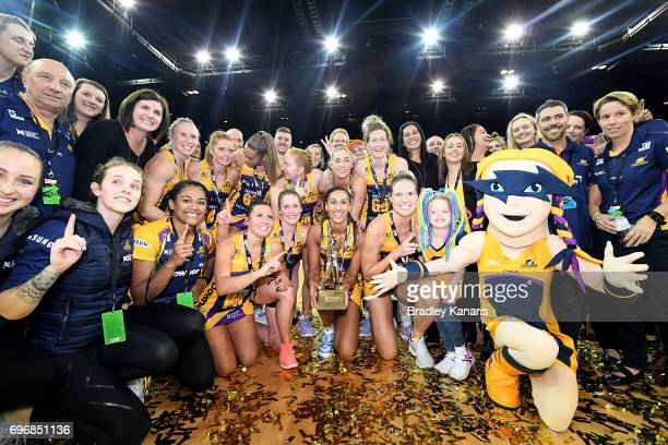 The Sunshine Coast Lightning celebrate victory after the Super Netball Grand Final match between the Lightning and the Giants at the Brisbane...