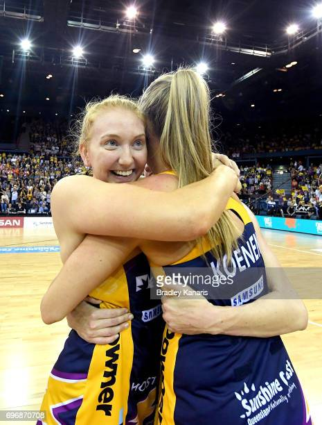 The Sunshine Coast players celebrate victory after the Super Netball Grand Final match between the Lightning and the Giants at the Brisbane...