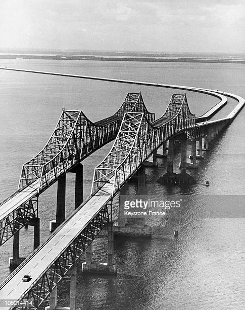 The Sunshine Skyway Bridge Connects St Petersburg Florida To Bradenton Across Lower Tampa Bay And Th Gulf Of Mexico On Its Opening In 1954