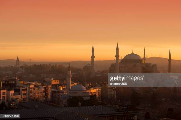 the suoer moon rise over hagia sophia chruch near blue mosque in istanbul - byzantine stock pictures, royalty-free photos & images
