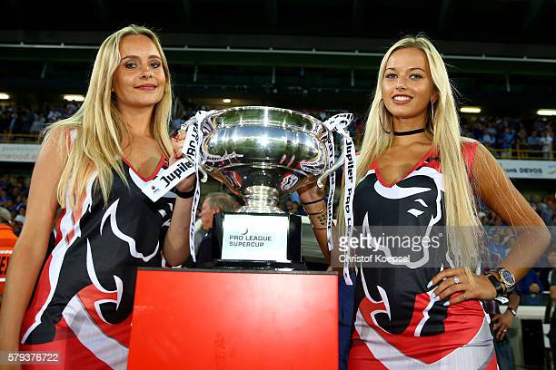 The Supcercup trophy is seen prior to the Supercup match between Club Brugge and Standrad Liege at JanBreydelStadium on July 23 2016 in Brugge Belgium