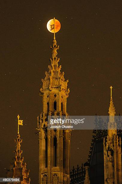 The Super Blood Moon rises over the spires of the House of Parliament on September 28 2015 in London United Kingdom The Super Moon coincides with a...