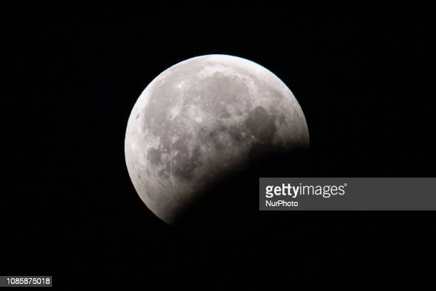The Super Blood Wolf Moon a total lunar eclipse on January 21 2019 as seen from Eindhoven The Netherlands in Europe