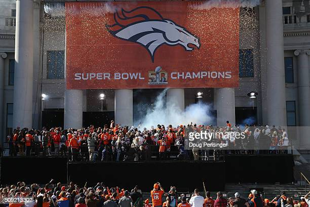 The Super Bowl 50 Champion Denver Broncos are celebrated at a rally on the steps of the Denver City and County Building on February 9 2016 in Denver...