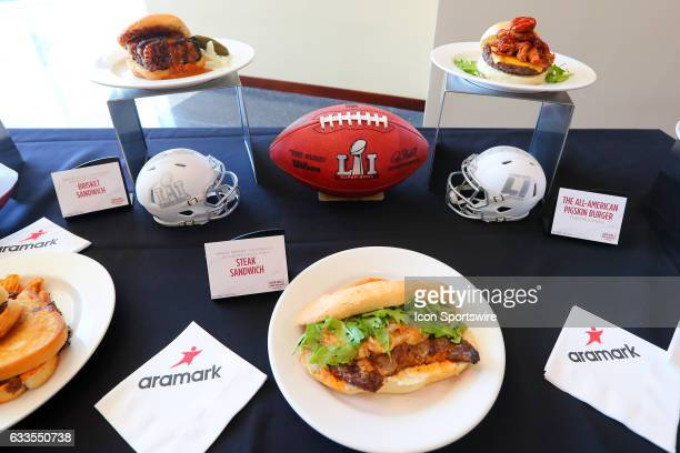 The Super Bowl LI Menu is unveiled at NRG Stadium on January 31 in Houston Texas The All American Pigskin Burger Steak Sandwich and Brisket Sandwich...