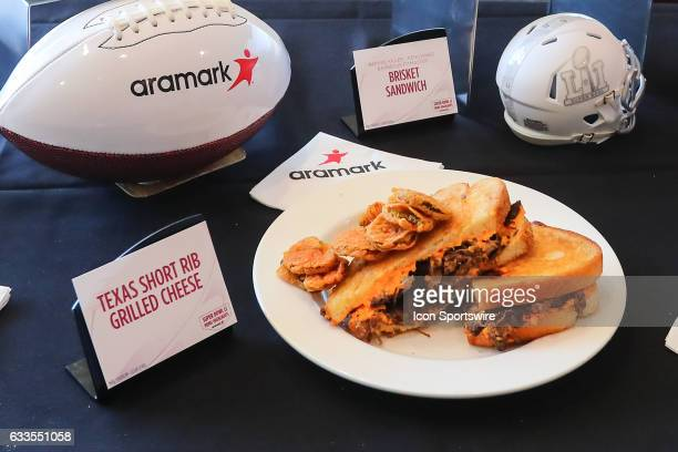 The Super Bowl LI Menu is unveiled at NRG Stadium on January 31 in Houston Texas The Texas Short Rib Grilled Cheese on display Aramark is NRG...