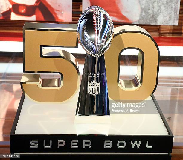 The Super Bowl trophy on display during the NFL Media Event the day before Kickoff to the 2015 Season on September 9 2015 in Culver City California