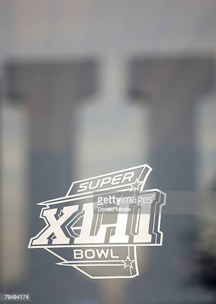 The Super Bowl XLII logo outside University of Phoenix Stadium before Super Bowl XLII between the New York Giants and the New England Patriots on...