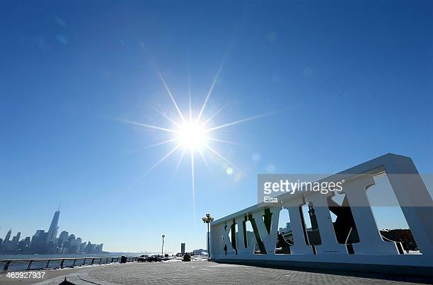 The Super Bowl XLVII sign stands at Pier A in January 30 2014 Hoboken New JerseyThe Denver Broncos and the Seattle Seahawks will play in Super Bowl...