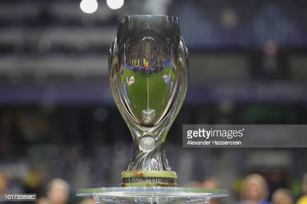 The Super Cup Winners Trophy is displayed prior to the UEFA Super Cup between Real Madrid and Atletico Madrid at Lillekula Stadium on August 15, 2018...