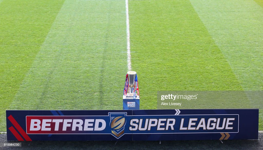 The Super League trophy is seen prior to the Super League 2018 Season Launch the at John Smith's Stadium on January 25, 2018 in Huddersfield, England.