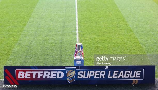 The Super League trophy is seen prior to the Super League 2018 Season Launch the at John Smith's Stadium on January 25 2018 in Huddersfield England